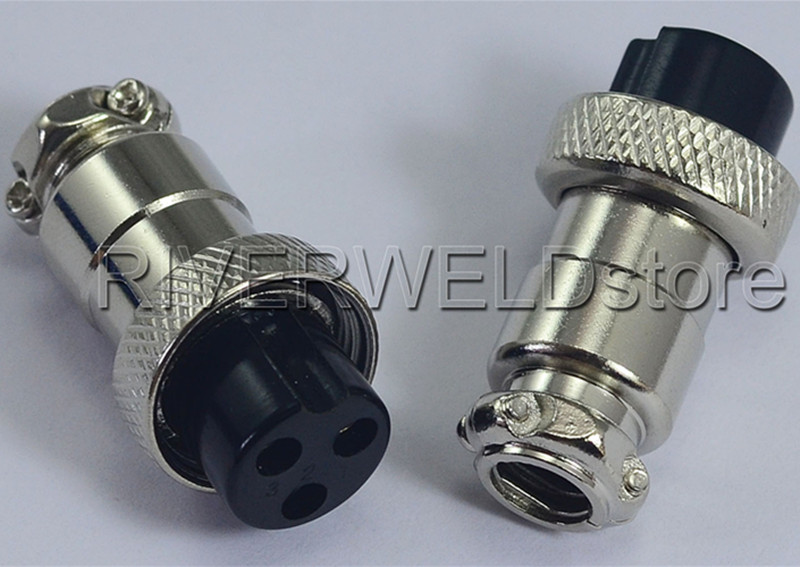 2pcs 16-3P 3 Pins Socket Connector For Plasma Cutter TIG Torch