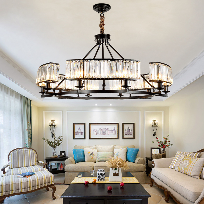 Loft Style Vintage lampe en cristal noir Bronze lampe en cristal lustre masque lampes pour salon E14 lampe à LED
