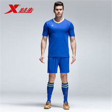 XTEP 2017 New Men's Summer Athletic Short sleeve Quick Dry Soccer Jerseys T shirt Clothing Suits Set Free Shipping 984329670001