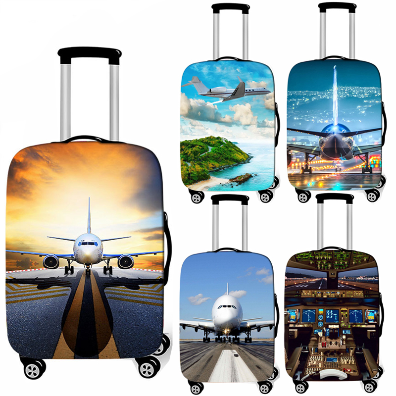 Aircraft / Airplane print luggage cover for travelling baggage suitcase cover anti-dust trolley case cover for 18-32 inch(China)
