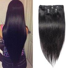 10PCS 120G Clip In Human Hair Straight  Virgin Hair Clip In Hair Extensions 6A Full Head Clip In Human Hair Extensions Black #1B