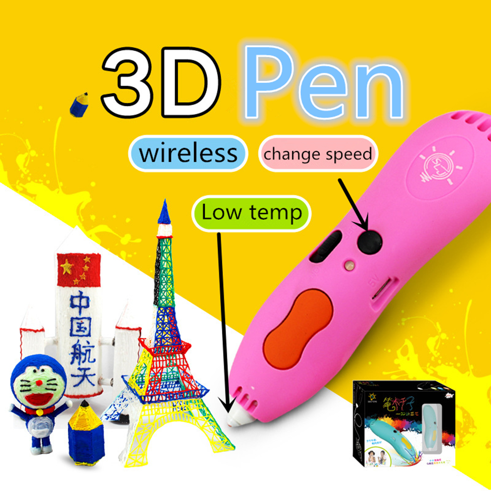 Wireless 3d Pen low Temperature Display lamp Free 6Color PCL Filament or 3D pen with 60M