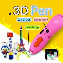 Беспроводной 3D ручка низкая дисплей температуры лампы Бесплатная 6 видов цветов pcl нити или 3D ручки с 60 м pcl opt Популярные DIY подарок для детей