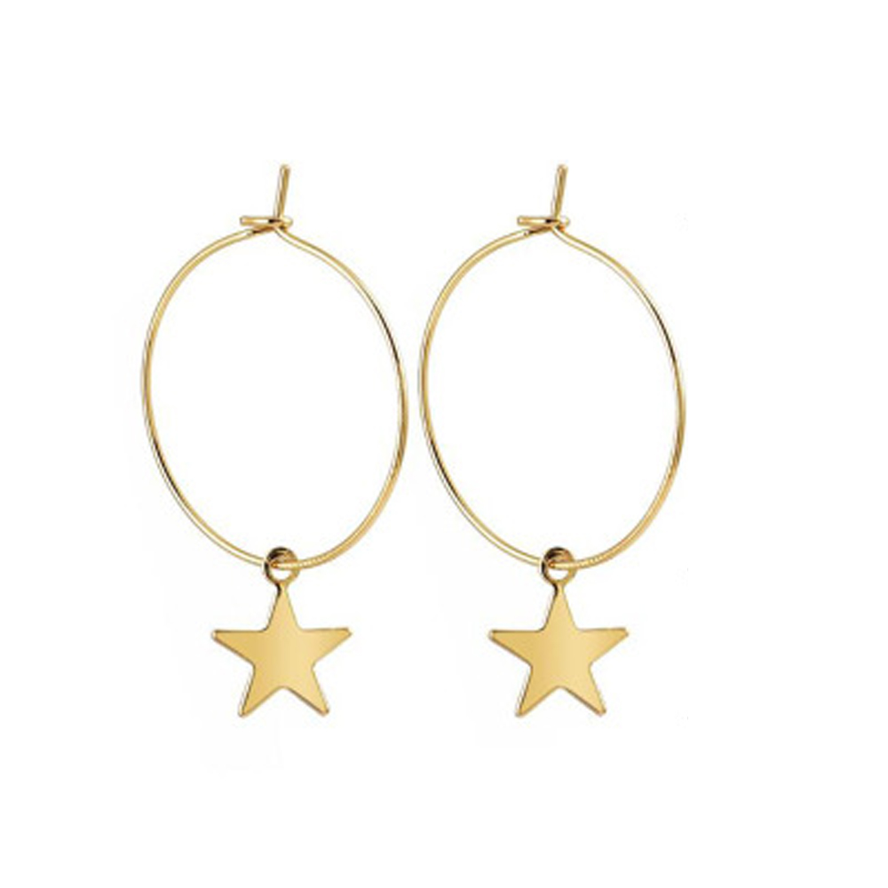 Simple Gold Color Star Stud Earrings For Women Earrings Brincos Oorbellen Boucle D'oreille Pendientes Stainless Steel Big Circle