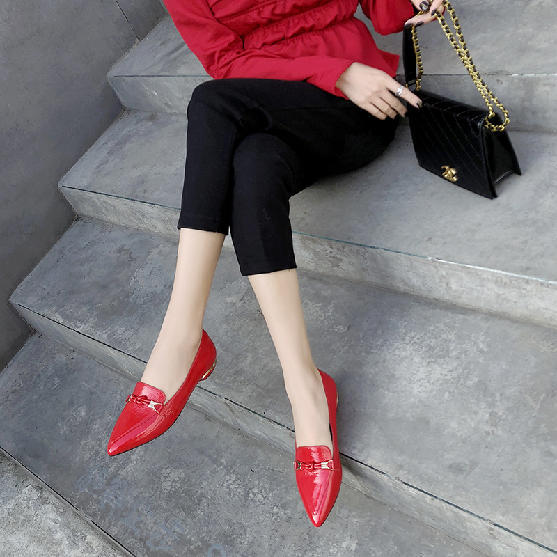 VANGULL Shoes Buckle Pointed-Toe Women Patent And Autumn Spring