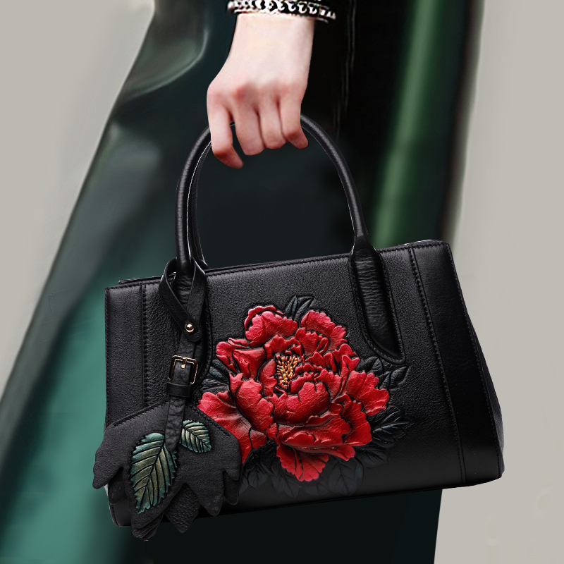 National Style Exquisite Flower Handbag Top Leather Zipper Shoulder Crossbody Bag Elegant Women Banquet Fashion Top-handle Bags все цены