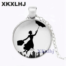 XKXLHJ Poppins Pendant Necklace classical movie chain Jewelry womensgift vintage antique charms necklaces lady umbrella fly