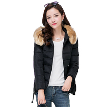 Woman Winter Fur Hooded Quilted Puffer font b Jackets b font Black Red Yellow Green font