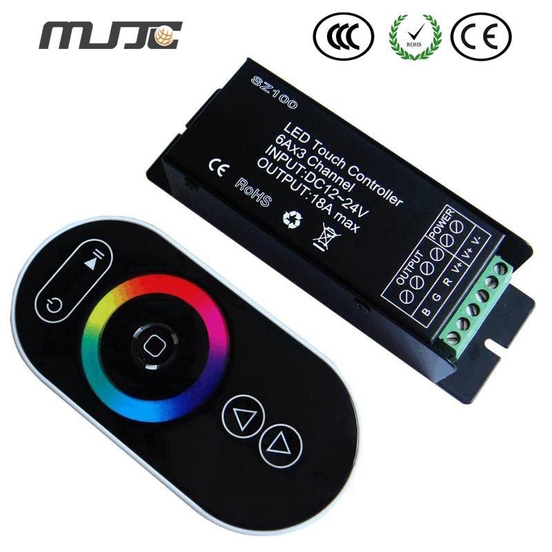 все цены на MJJC 1PCS RF Touch RGB LED Controller 12Volt 24Volt 18A For Constant Voltage 5050 RGB LED Strip Lights онлайн