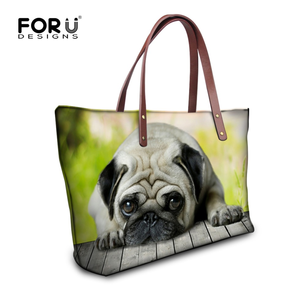 FORUDESIGNS Women Handbags Cute Animal Pug Dog Printing Shoulder Bags for Ladies Cat Large Capacity Female Shopping Bag Bolsa fashion women handbags animal peacock printing shoulder bag vintage shopping bag large capacity ladies handbags bolsa feminina