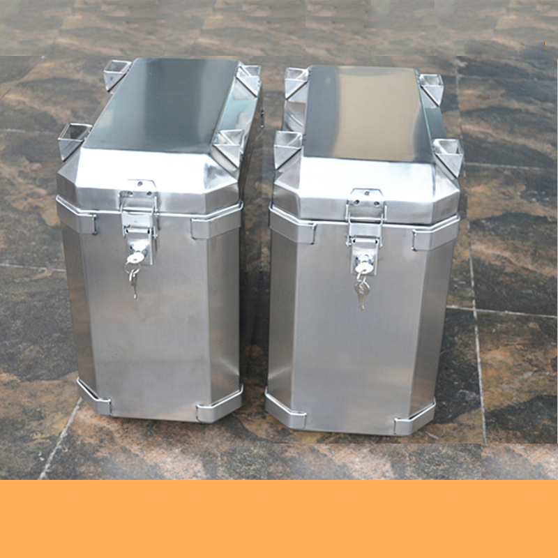 L Style Portable Stainless Steel Toolcase Home Storage Tool Box Tool Packaging Equipment Transport Side Box Motorcycle  Trunk