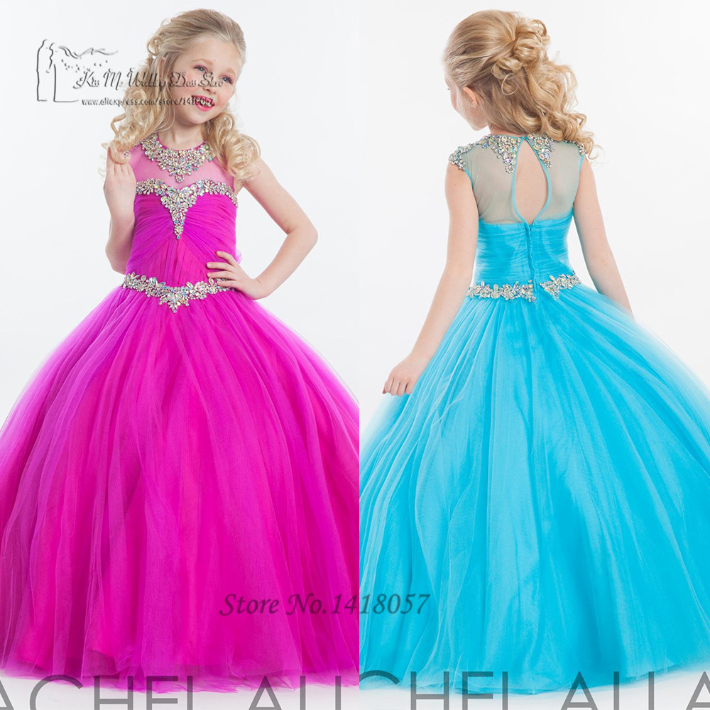 Fushcia turquesa Pageant Girls Vestidos Crystal Ball Vestidos ...