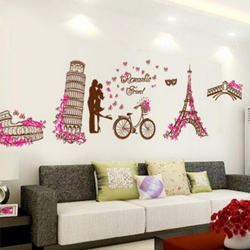 Aliexpress.com : Buy Romantic Paris Eiffel Tower Wall Stickers Beautiful  France Wall Stickers Home Decor Wallpaper Art Mural Room Decal From  Reliable Decor ... Part 50