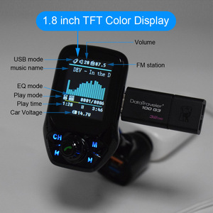 Image 5 - Bluetooth 5.0 FM משדר רכב AUX USB MP3 נגן אלחוטי דיבורית לרכב עם QC3.0 טעינה מהירה 3 יציאות USB רכב מטען