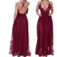 Preselfドレスセクシーな深いv dressスパゲッティクロス背中の開いたストラップノースリーブエレガントな女