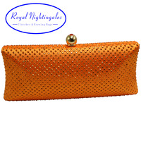 Factory Directly Wholesale Orange Crystal Rhinestone Diamond Evening Purse Evening Clutch Boxed Evening Bag