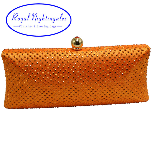 Factory Directly Wholesale Orange Crystal Rhinestone Diamond Evening Purse Evening Clutch Boxed Evening Bag and Clutches