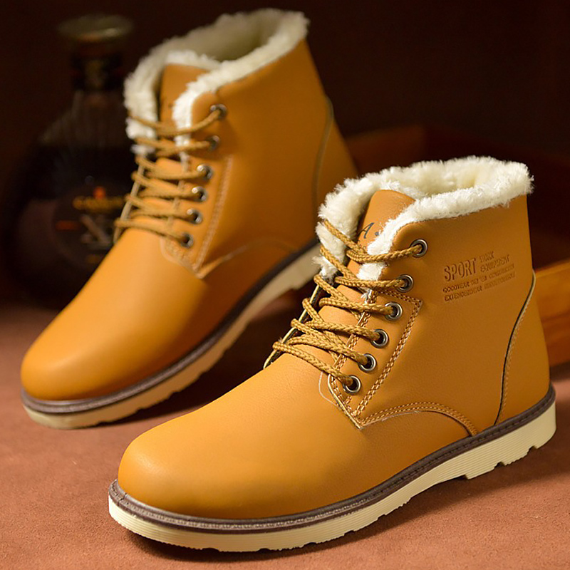 Men's Work boots Plush Warm Winter Ankle boots men Rubber Hard-wearing Safety shoes for men non-slip Snow boot 2018 Fashion france tigergrip waterproof work safety shoes woman and man soft sole rubber kitchen sea food shop non slip chef shoes cover