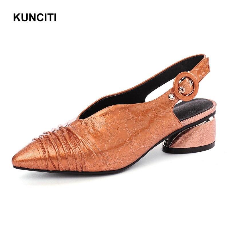 Coreano Grueso De Diseño Zapatos Mujeres Verano Tacón Confort Sandalias silver Europeo Plisada Plata X926 orange Gladiador 2019 Black vrBq7Sv