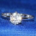Queen brilliance 1 carat lab grown moissanite ct f cor de Noivado de diamante Anel De Casamento Genuíno 14 K 585 Ouro Branco Para mulheres