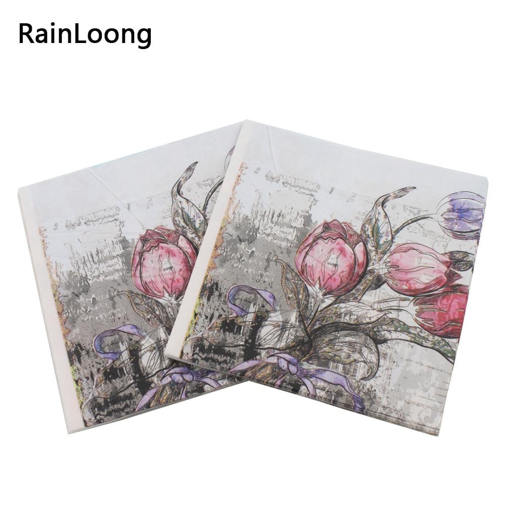 [RainLoong] Turm Papierservietten Rose Festliche & Party Tissue - Partyartikel und Dekoration - Foto 2