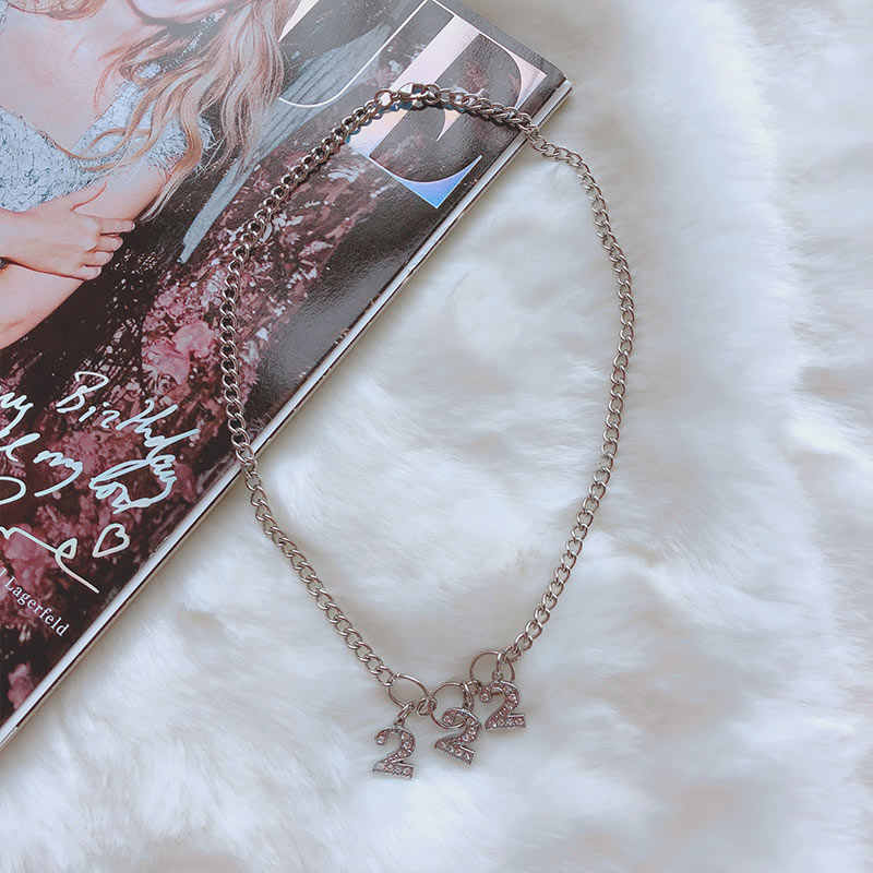 Trendy Harajuku Style Necklaces Women Stainless Steel 222 Letter Chokers Beads Girls Chic Punk Style Circle Chain Collares 2019