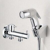 Ücretsiz nakliye Tuvalet Banyo ABS El Bezi Püskürtme Duş Shattaf Set Bide Püskürtme Douche kiti T-adaptörü BD216A