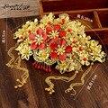 Chino antiguo rojo del pelo tocado de la novia Corona Xiu él demuestra la ropa ropa accesorios de la boda accesorios paquete wo