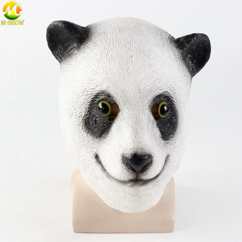 High Quality Panda Mask Latex Party Panda Animal Full Mask For Kid Party Halloween Masquerade Panda Mask Funny Free Shipping