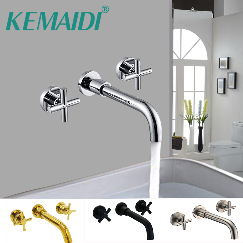 KEMAIDI Basin Faucets Chrome Antique Brass Bathroom Sink Basin Mixer Tap Faucet 3 Pcs Black Faucet Dual Handle Sink Mixer Taps kemaidi 3 pcs antique brass