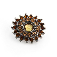 PAPAPRESS NEW 10pcs/lot Metal Snaps Jewelry Amber Color Sunflower 18mm Buttons Fit Snap Leather Bracelet Jewelry Findings W414