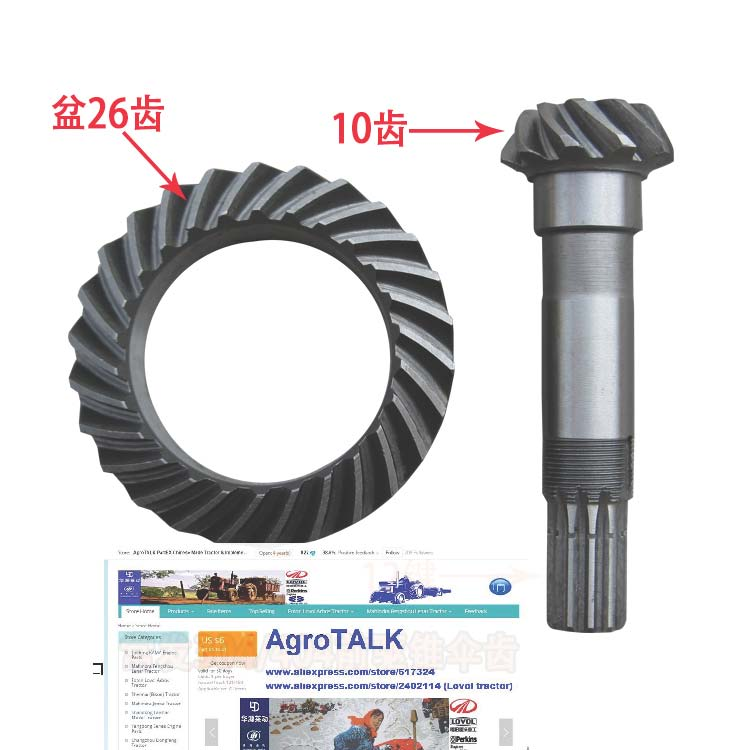 Changfa tractor CF304 CF404, the spiral bevel gear with shaft for front axle , part number: tc02311010047 tc0231101004 the housing for front axle