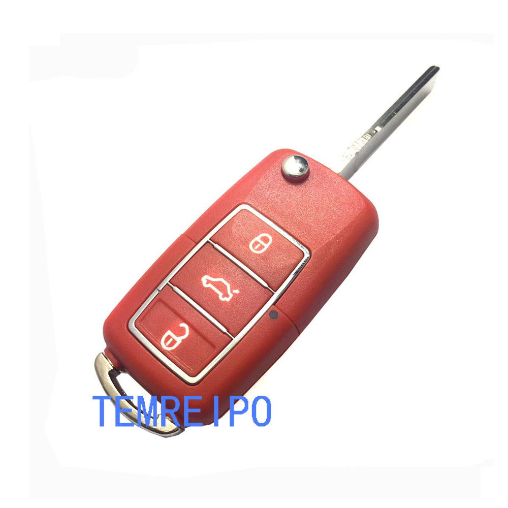 Replaement Key Shell For vw 3 Buttons Folding Replacement Key Refires Replace Shell
