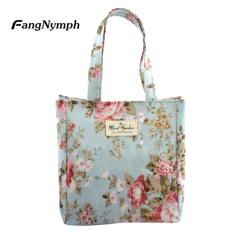 FangNymph 2018 Flower Printed Frosted Cloth Tote Female Single Shoulder Lunch Handbag Women Casual Shopping Bags Girls Beach Bag cute cartoon women bag flower animals printing oxford storage bags kawaii lunch bag for girls food bag school lunch box z0