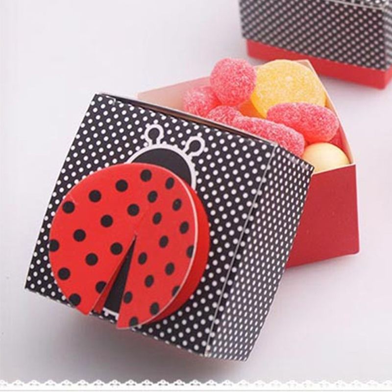 10pcs 3D Wing Ladybug Gift Boxes Wedding Baby Shower Favor Box Candy Box Chocolate Packaging Box for Party Event Favor