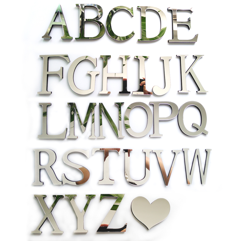 2017 New Acrylic Sticker Love Characters Letters Home Decoration English Mirror Wall Stickers Alphabet Logo
