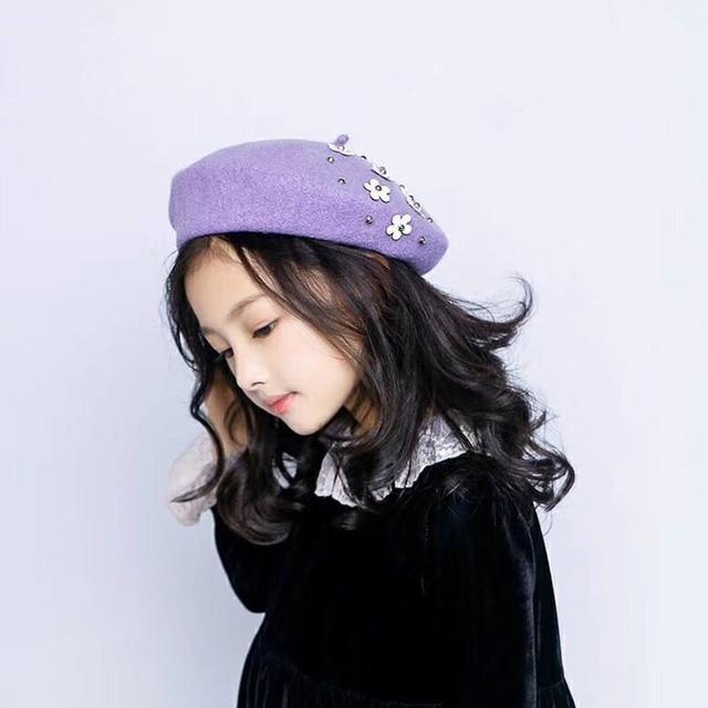 HPBBKD Children kids beret winter cute black red wool beret hat cap berets  girls hat painter hat size 50-54cm GH674 a81a5579379