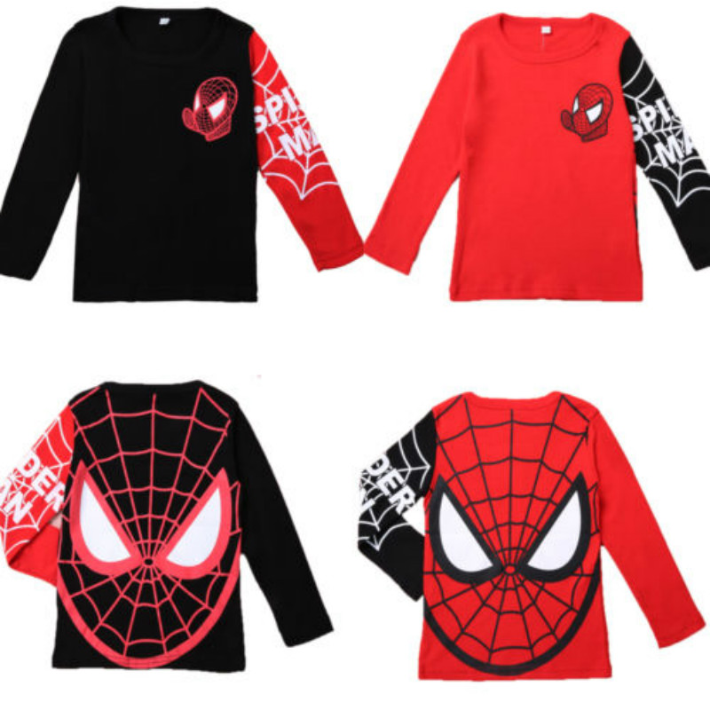 Kids Boys Spider man long sleeve t-shirt   letter print patchwork  Clothes