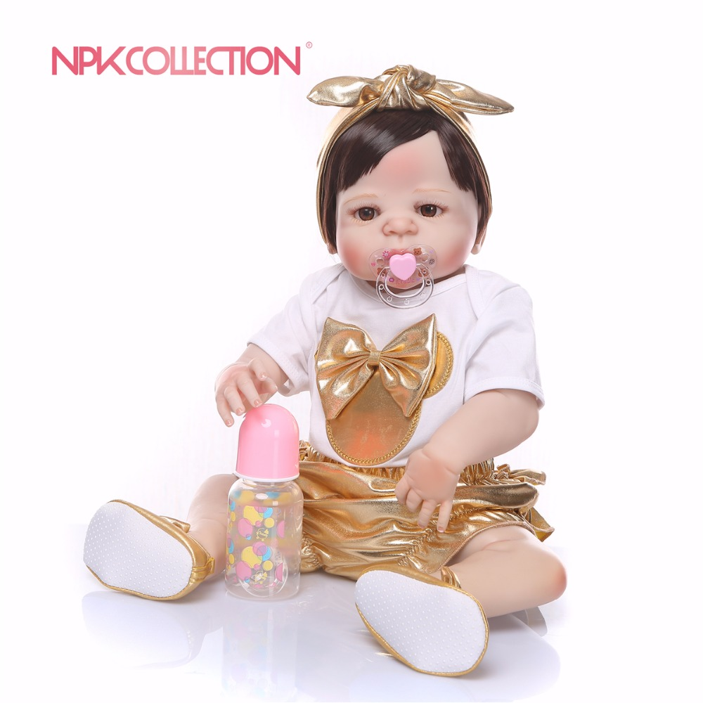 New Design Full Silicone Body Reborn Baby Doll Toy Lifelike Handmade Nreborn Girl Baby Toy Xmas Gift Bathe Toy Alive Bebe Boneca new design cute new born baby girl doll toy 23inch realistic reborn dolls silicone vinyl full body alive bebe boneca reborns