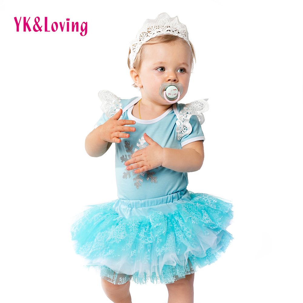 Snowflake Blue Short Clothing Sets 2018 O-Neck Wholesale Baby Girls Romper with Tutu Skirt Novelty Free Shipping Clothes Sets  A baby girl 1st birthday outfits short sleeve infant clothing sets lace romper dress headband shoe toddler tutu set baby s clothes