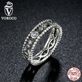VOROCO Popular Hot 925 Sterling Silver 2 pcs DIY Finger Ring Compatible with VRC Women Fashion Wedding Jewelry R010