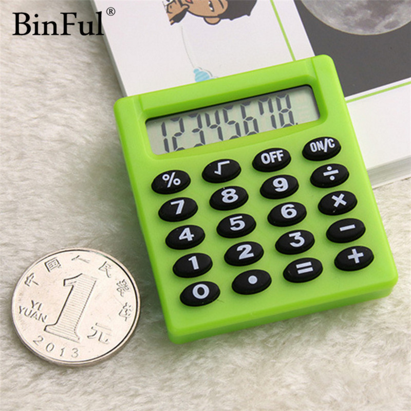 BinFul New Student Mini Electronic Calculator Candy 5 Colors Calculating Office Supplies Gift etmakit office home calculator office worker school calculator portable pocket electronic calculating calculator newest