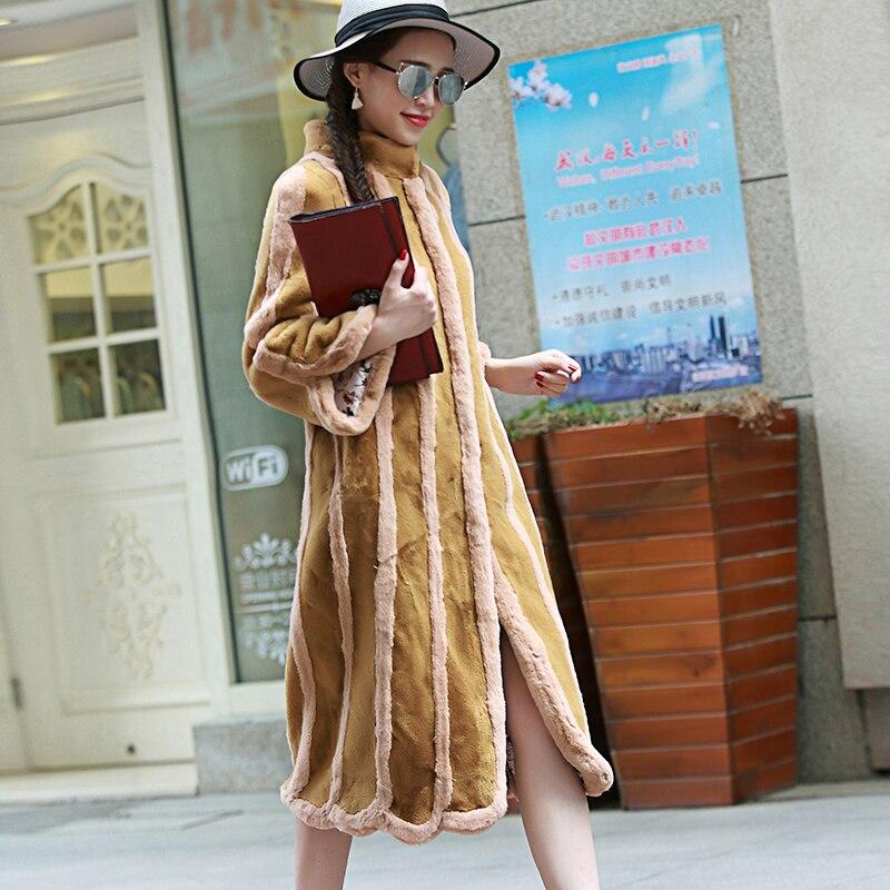 Nerazzurri Subway פו פרווה נשים מעיל שרוול ארוך עם שרוולים ארוכים מעילי פרווה מזויפים עם פסים מעילי פרווה מזויפים בתוספת גודל 4XL 5XL 6XL