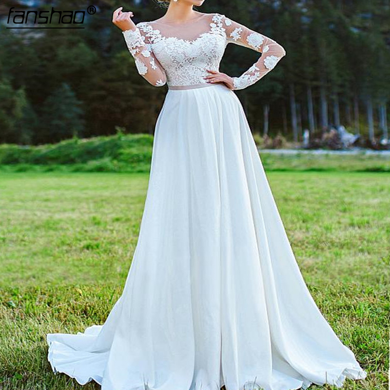 Beach Wedding Dress Long Sleeves Satin Lace Illusion Bridal Dress Wedding Gown Vestido De Noiva Custom Made