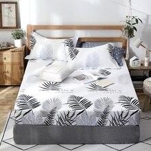 60e26918f5 2018 novo produto 1 pcs 100% algodão impresso sólida lençol capa de colchão  quatro cantos com elástico folha cama