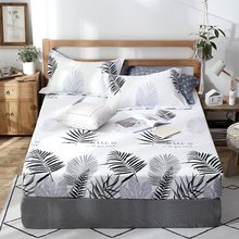 2019 New Product 1pcs 100%Cotton Printed Solid Fitted Sheet Mattress Cover Four Corners With Elastic Band Bed Sheet(China)