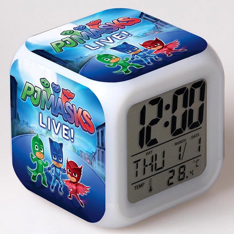 PJ Masks Anime Figurines Alarm Clock LED Colorful Flash Touch Light Pajamas Masks TV Cartoon Action Figure Toys for Kids gift anime figure toy story 3 buzz lightyear and woody doll led alarm clock color touch light movie figurines toys for boys gift