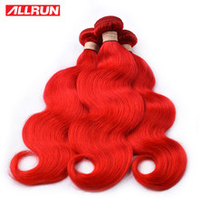ALLRUN Brazilian Human Hair Weave Bundles Colorful Body Wave Bundles Dark Red 1/3/4 Bundles Deal Dyed Remy Hair Extensions(China)