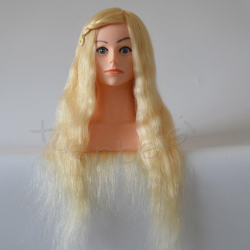 100% Naturel Blonde de Cheveux Humains Tête De La Formation Avec Épaule Grande Qualité Mannequin Tête Avec 22 pouce Blanc Réel Cheveux 613 # factice