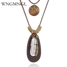 WNGMNGL Fashion Vintage Choker Necklace Double layer Charm Long Statement Feather Alloy Wood Pendant Necklace For Women Jewelry